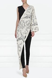 Black and White Oriental Bird Print Embroidered Jumpsuit by Eshaani Jayaswal