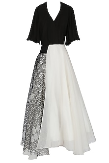 Black and White Asymmetrical Bouffant Gown by Eshaani Jayaswal
