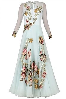 Aqua Applique Work Bouffant Gown by Eshaani Jayaswal