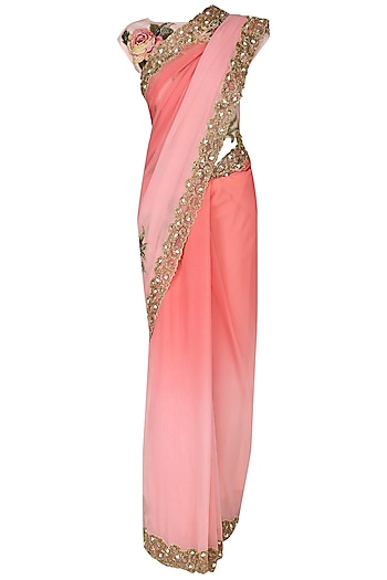 Pink Ombre Applique Work Saree with Blouse by Eshaani Jayaswal