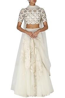 Off White Embroidered Lehenga Set by Eshaani Jayaswal