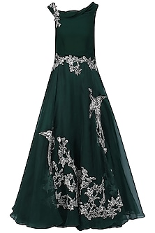 Bottle Green Oriental Bird Print Gown by Eshaani Jayaswal