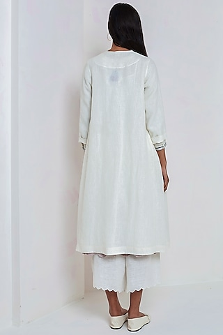 White Embroidered Over Dress by EKA