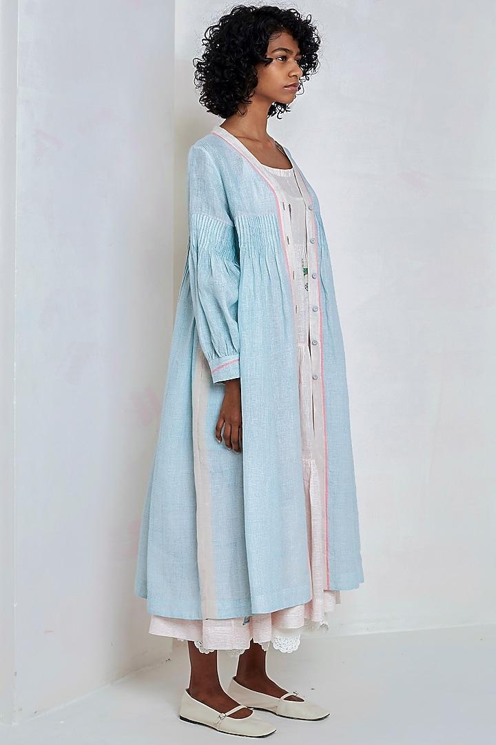 Sky Blue Printed Over Dress by EKA