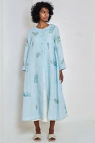 Sky Blue Block Printed Over Dress by EKA