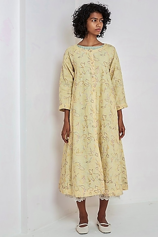 Yellow Embroidered Over Dress by EKA
