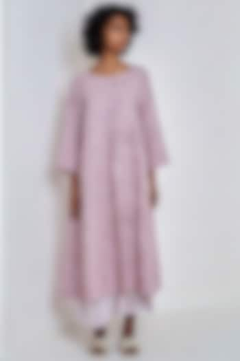 Mauve Embroidered Over Dress by EKA