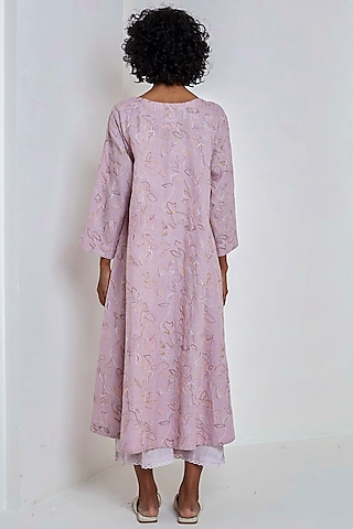 Mauve Embroidered Over Dress by EKA