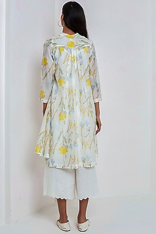 White Block Printed Dress by EKA