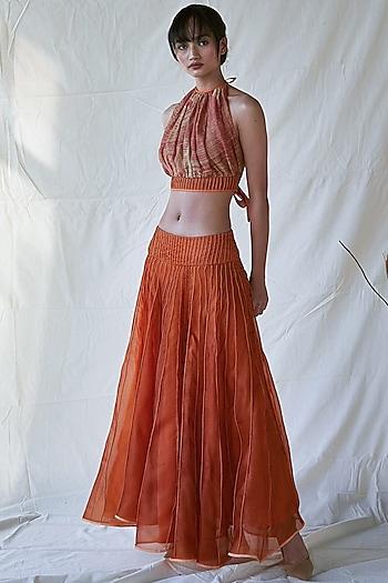 Orange Silk Organza Maxi Skirt by Ek Katha