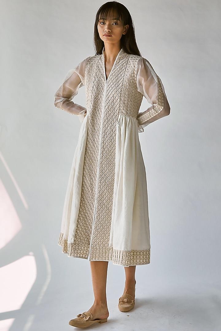 White & Beige Sheer Sleeves Dress by Ek Katha