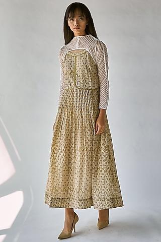 Olive Green Pleated Maxi Dress by Ek Katha