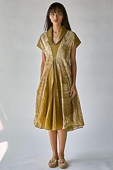 Olive Green Printed Dress by Ek Katha-EK KATHA