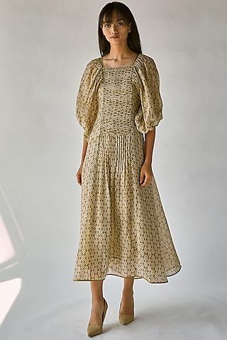 Olive Green Printed Dress With Balloon Sleeves by Ek Katha