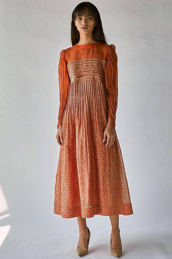 Orange Block Printed Maxi Dress by Ek Katha