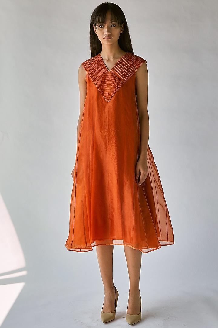 Orange Dress With Lining by Ek Katha