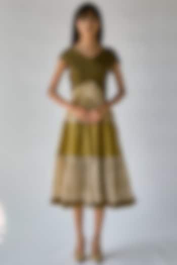 Olive Green Printed Dress by Ek Katha