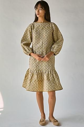 Olive Green Printed Boxy Dress by Ek Katha