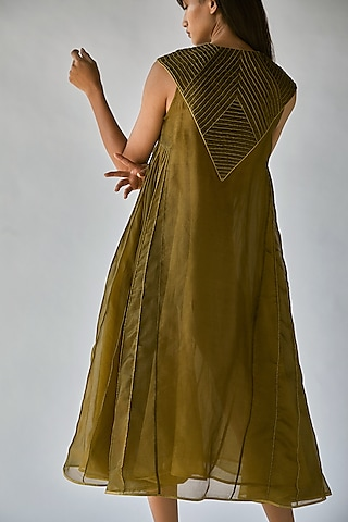Olive Green Dress With Lining by Ek Katha