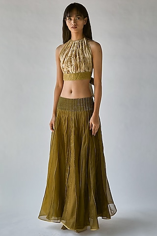 Olive Green Textured Skirt by Ek Katha