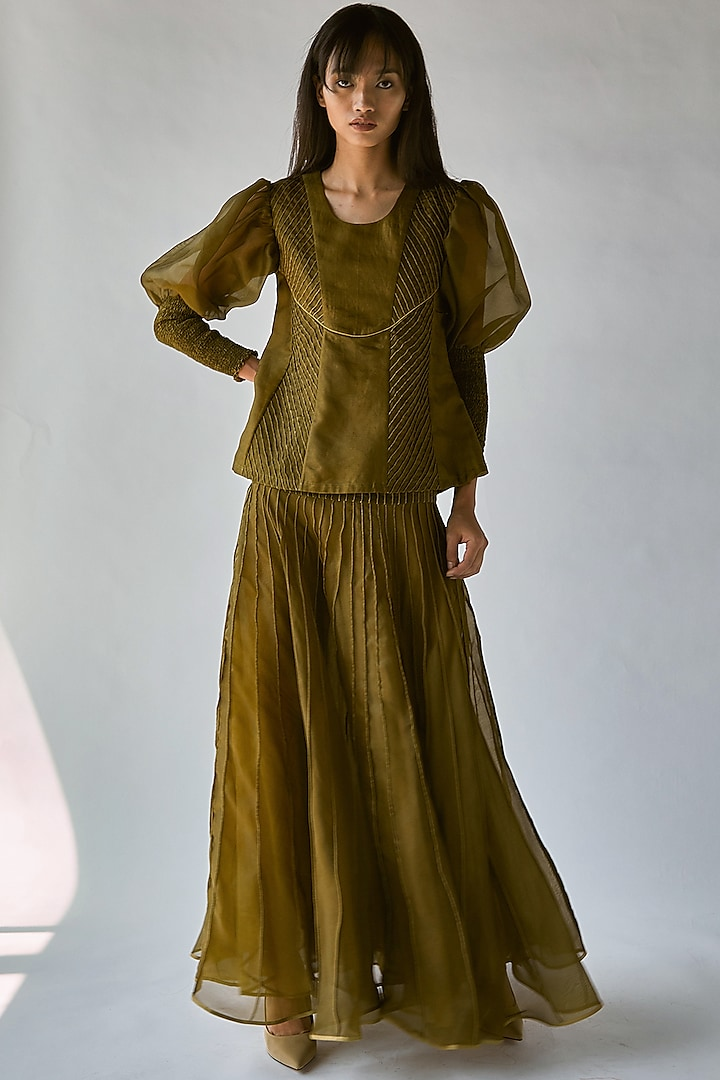 Olive Green Top With Balloon Sleeves by Ek Katha