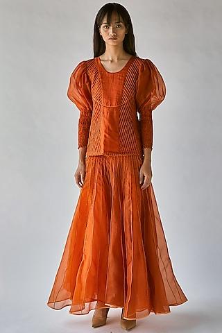 Orange Top With Balloon Sleeves by Ek Katha