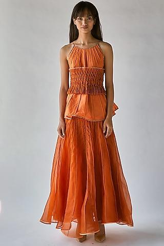 Orange Printed Halter Top by Ek Katha
