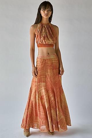 Yellow Printed Mermaid Skirt by Ek Katha