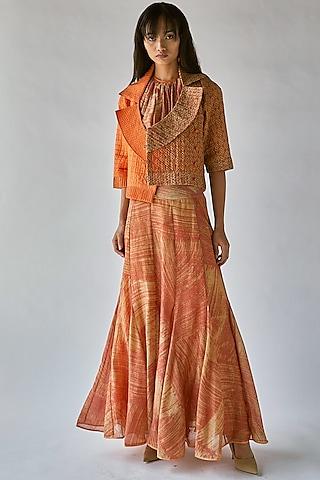Orange Printed Quilted Jacket by Ek Katha