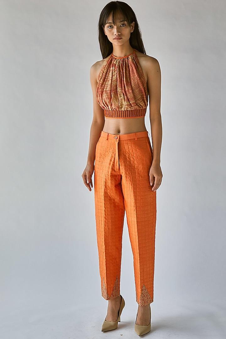 Orange Pencil Pants by Ek Katha