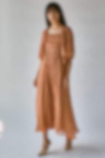Orange Printed Maxi Dress by Ek Katha