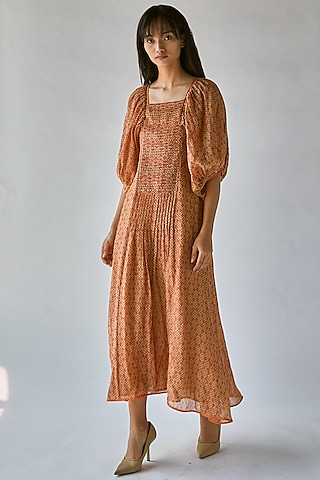 Orange Printed Maxi Dress by Ek Katha