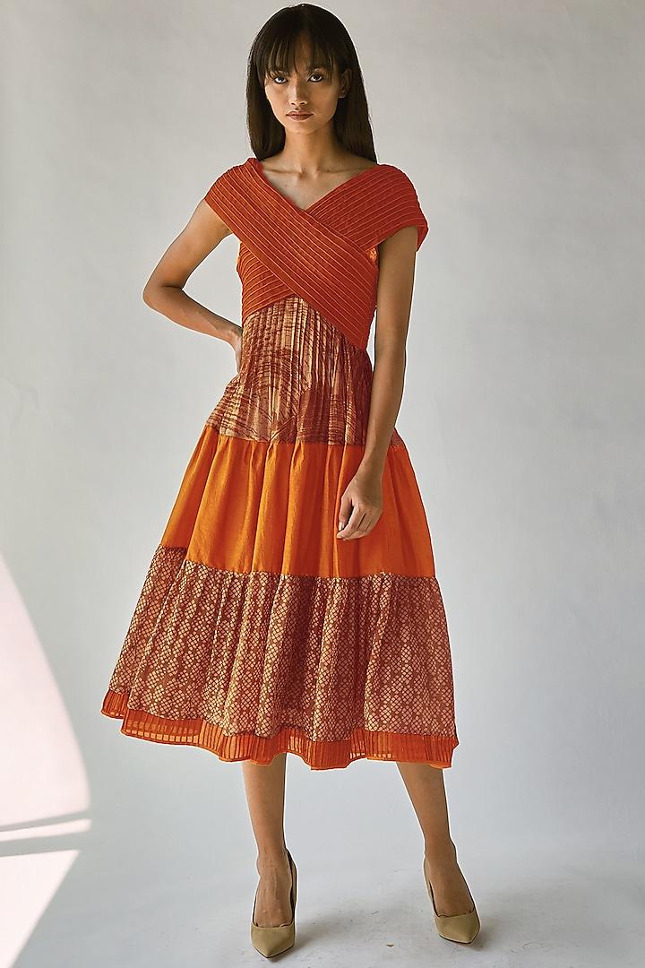Orange Batik Printed Dress by Ek Katha