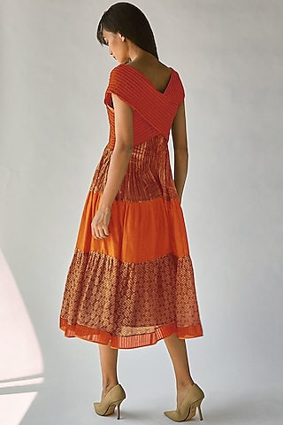 Orange Batik Printed Dress by Ek Katha