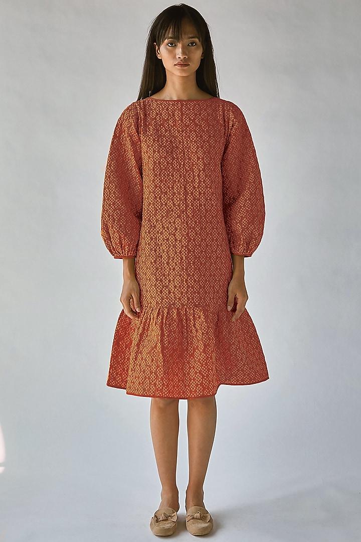 Orange Printed Boxy Dress by Ek Katha