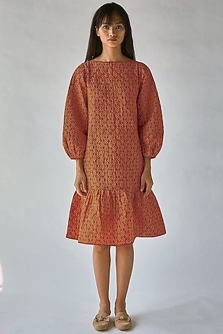 Orange Printed Boxy Dress by Ek Katha