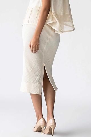Ivory Cotton Pencil Skirt by Ek Katha