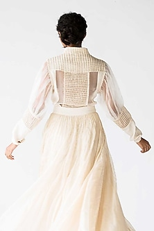Ivory Panelled Shirt With Puffed Sleeves by Ek Katha