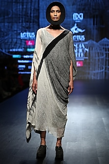 White & Grey Handloom Drape by Ekru by Ekta and Ruchira