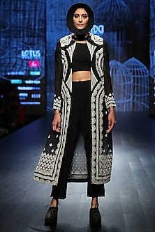 Black & White Jacket With Pants & Inner by Ekru by Ekta and Ruchira