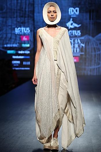 Off White Drape With Dhoti Pants by Ekru by Ekta and Ruchira