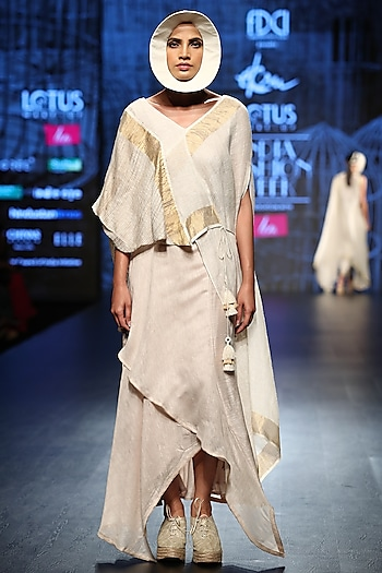 Off White & Gold Drape Top With Skirt by Ekru by Ekta and Ruchira
