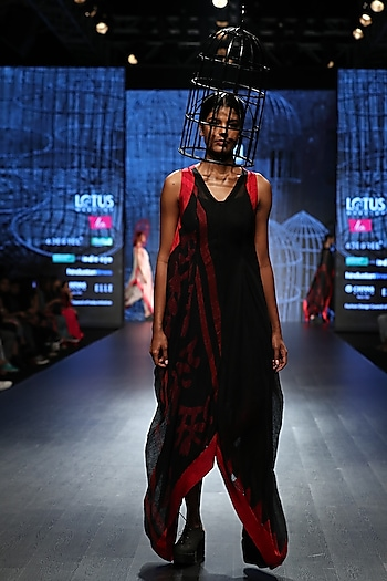 Black Khadi Drape by Ekru by Ekta and Ruchira