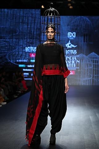 Black Drape Top With Dhoti Pants by Ekru by Ekta and Ruchira