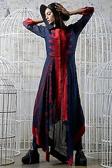 Navy blue & Red Khadi Drape by Ekru by Ekta and Ruchira