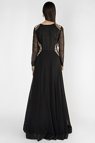 Black Embroidered Georgette Gown by Ekru by Ekta and Ruchira
