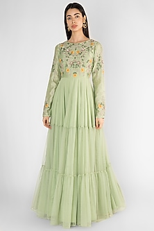 Pista Green Embroidered Tiered Gown by Ekru by Ekta and Ruchira