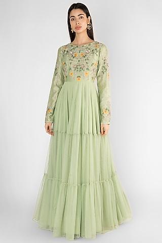 Pista Green Embroidered Tiered Gown by Ekru by Ekta and Ruchira