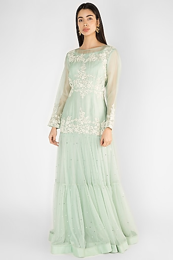 Sky Blue Embroidered Tiered Gown by Ekru by Ekta and Ruchira