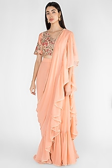 Peach Embroidered Pre-Stitched Saree Set by Ekru by Ekta and Ruchira